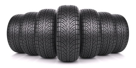 45808022 - car tires in row isolated on white background 3d